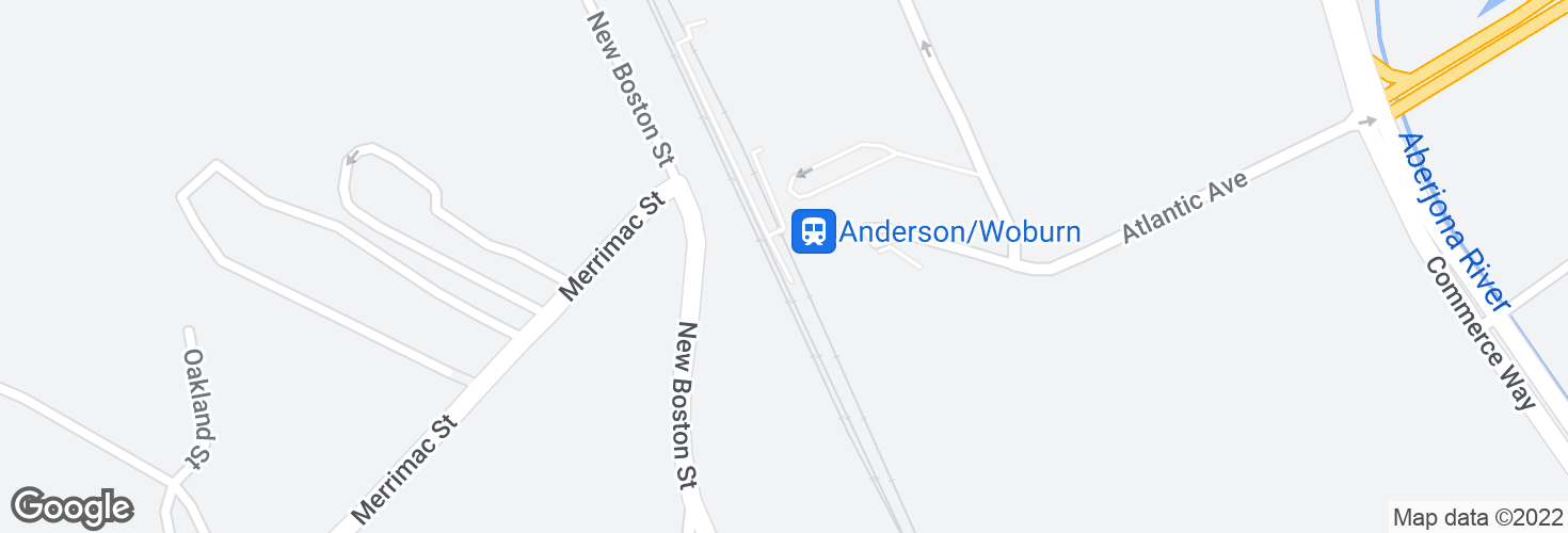 Map of Anderson/Woburn and surrounding area