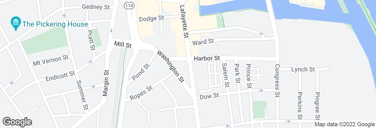 Map of Lafayette St @ Harbor St and surrounding area