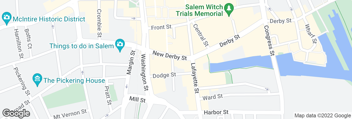 Map of New Derby St opp Klop Alley and surrounding area