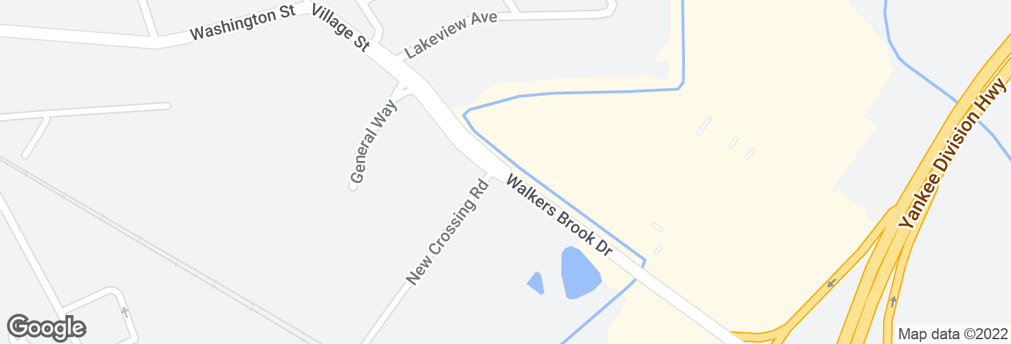 Map of Walkers Brook Dr opp New Crossing Rd and surrounding area