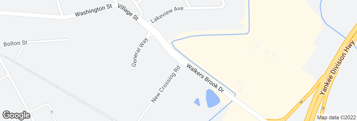 Map of Walkers Brook Dr @ New Crossing Rd and surrounding area