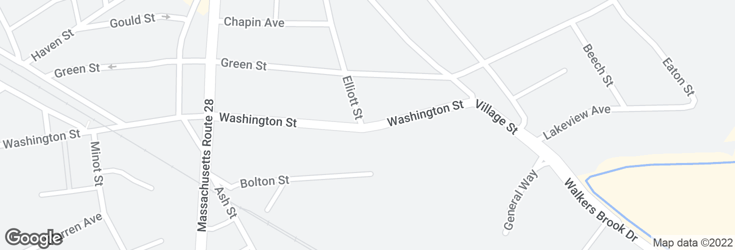 Map of Washington St @ Elliott St and surrounding area