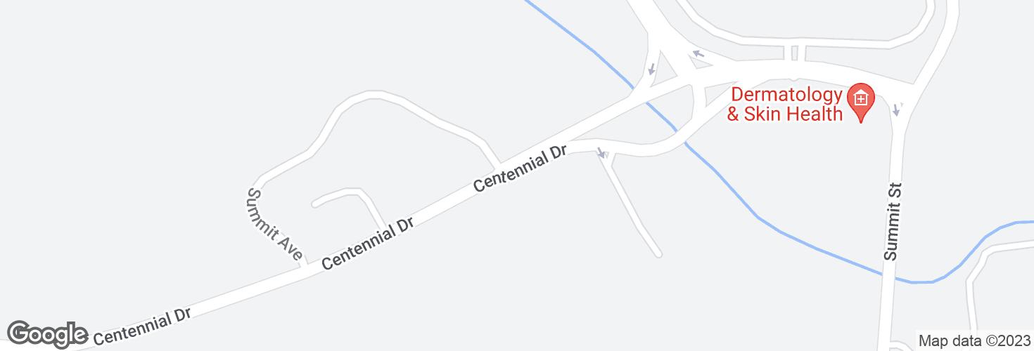 Map of Centennial Dr opp Marriott Dr and surrounding area