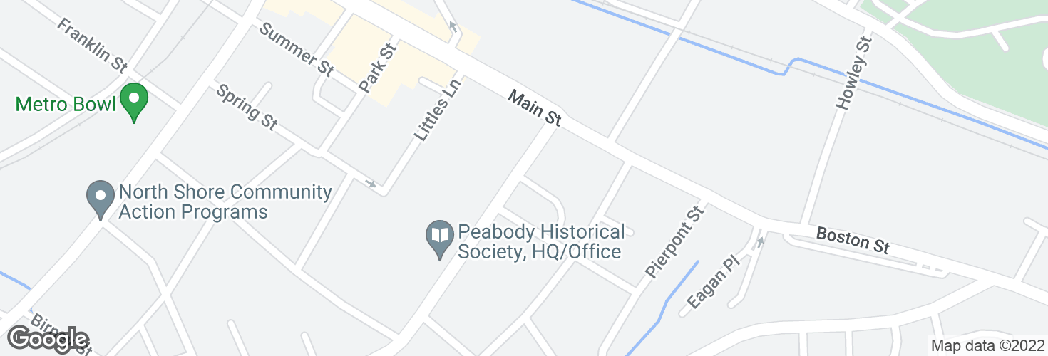 Map of Washington St @ Main St and surrounding area