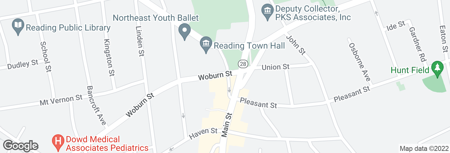 Map of Woburn St @ Lowell St - Reading Sq and surrounding area