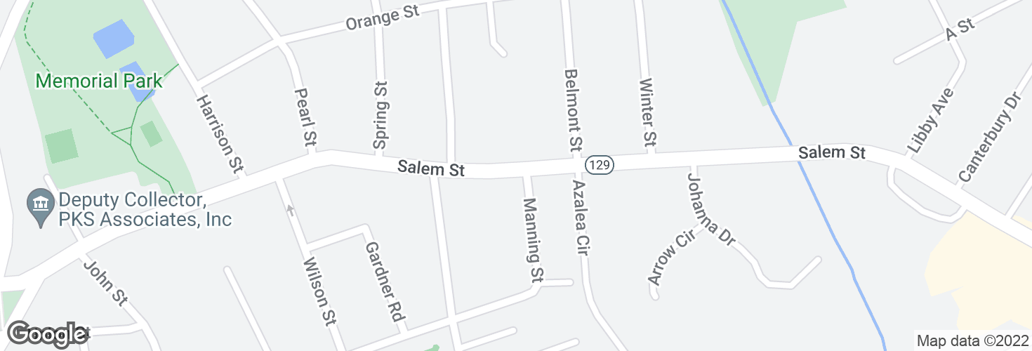 Map of Salem St @ Manning St and surrounding area