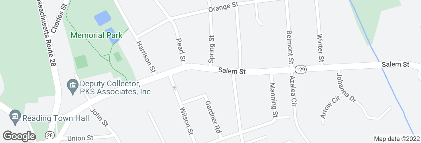 Map of Salem St opp Spring St and surrounding area
