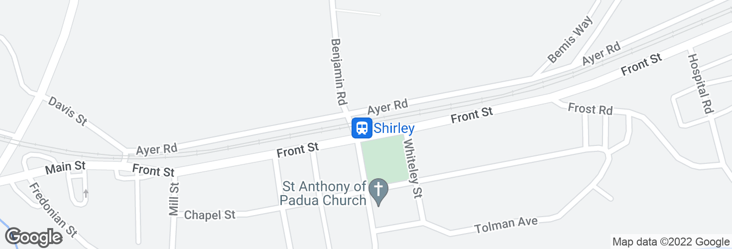Map of Shirley and surrounding area