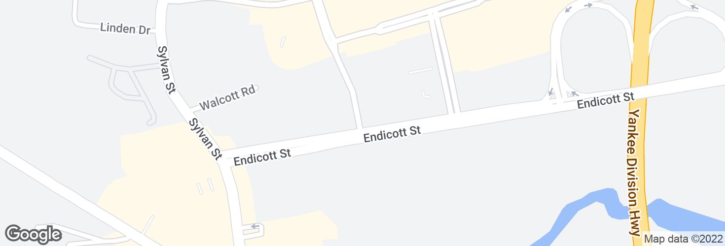 Map of Commonwealth Ave @ Endicott St and surrounding area