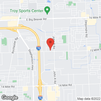 Map of Tim Hortons at 1905 E Maple Rd, Troy, MI 48083