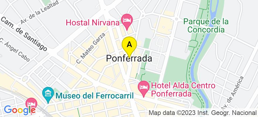 situacion en el mapa de . Direccion: C/.Alcón,9-1º.Izda, 24402 Ponferrada. León