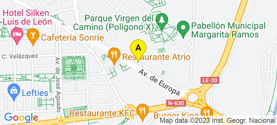 situacion en el mapa de . Direccion: Calle Moisés de León, 15, 1ºB, 24002 León. León