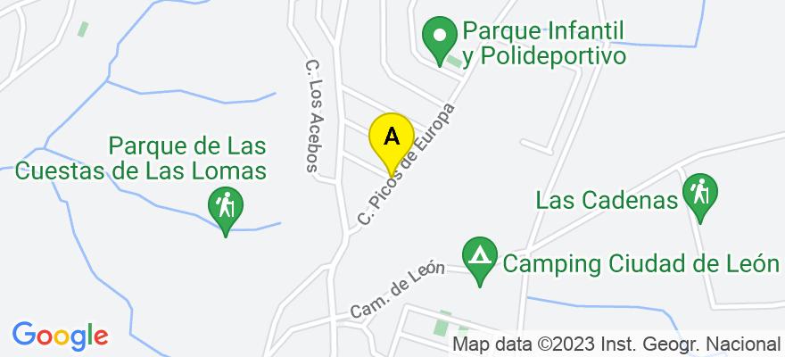 situacion en el mapa de . Direccion: Urbanización Las Lomas Calle Picos de Europa 203, 24228 Valdefresno. León
