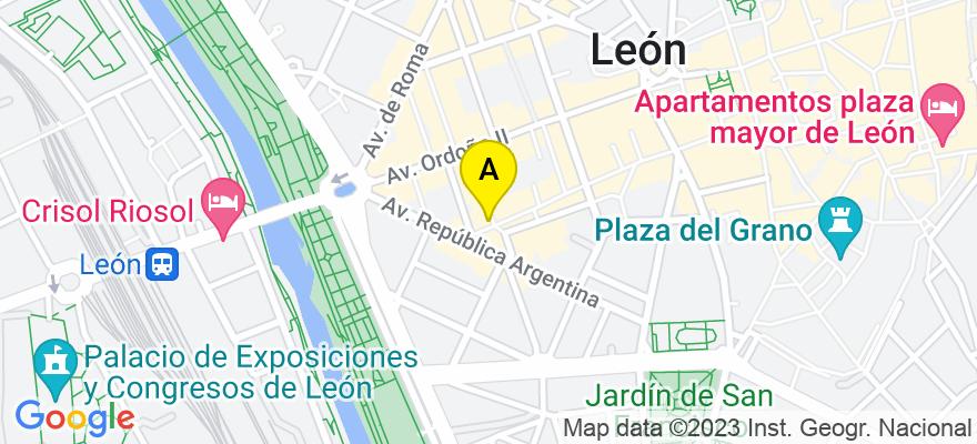 situacion en el mapa de . Direccion: C/ Capitán Cortes, 12, 1ºA, 24001 León. León