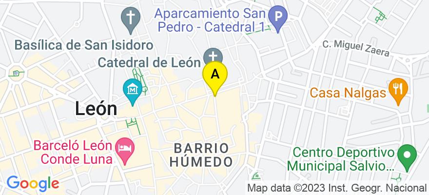 situacion en el mapa de . Direccion: CALLE LANCIA 14-1ºB, 24004 León. León