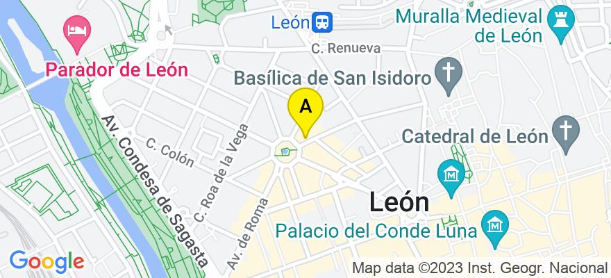 situacion en el mapa de . Direccion: C/ Julio del Campo, 18, 8º, 24002 León. León