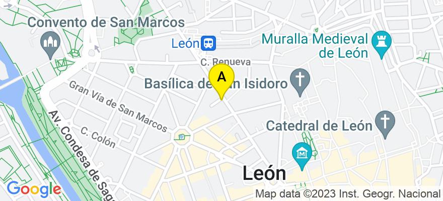 situacion en el mapa de . Direccion: Avenida Padre Isla Nº 23, 2º A, 24002 León. León