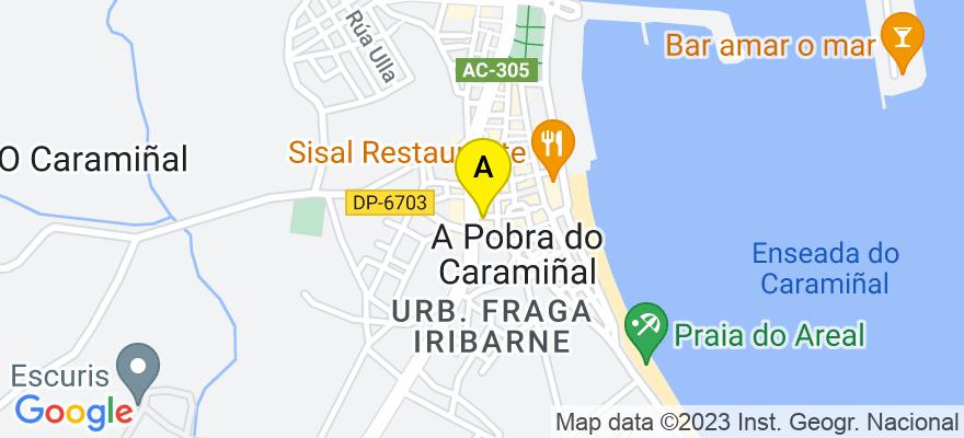 situacion en el mapa de . Direccion: Rua da Ponte, 3, atico a, 15940 A Pobra do Caramiñal. A Coruña