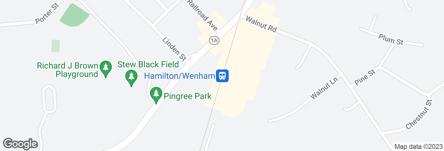 Map of Hamilton/Wenham and surrounding area
