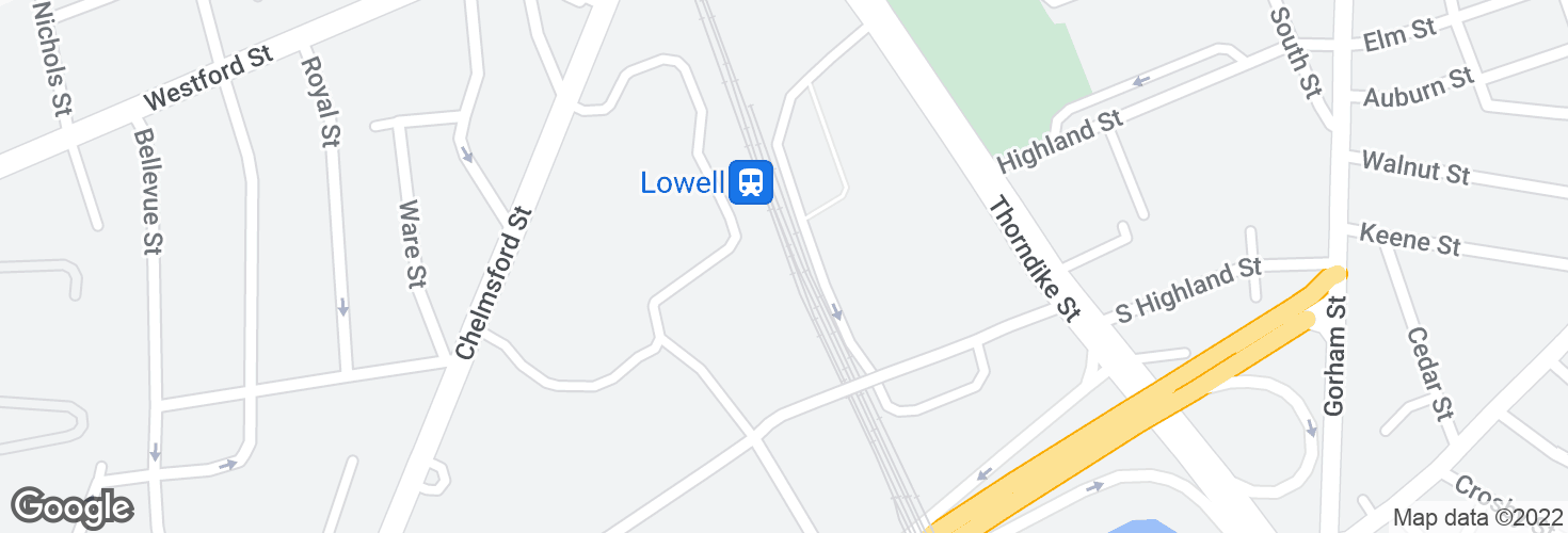 Map of Lowell and surrounding area