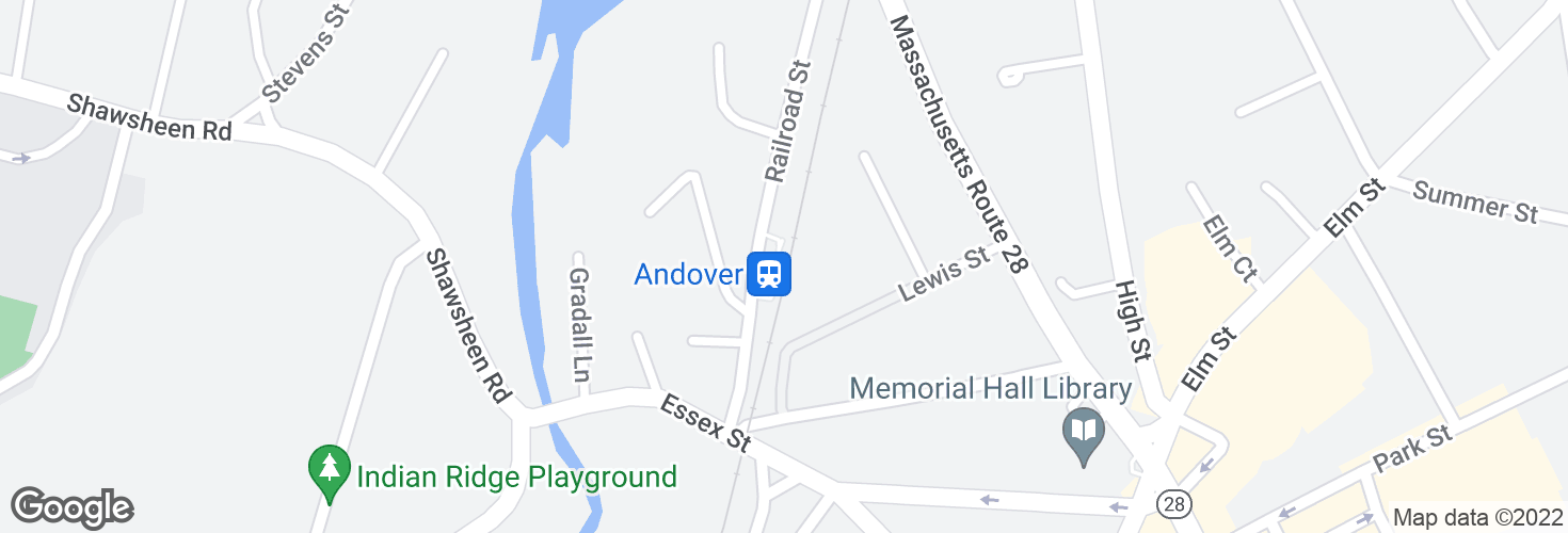 Map of Andover and surrounding area