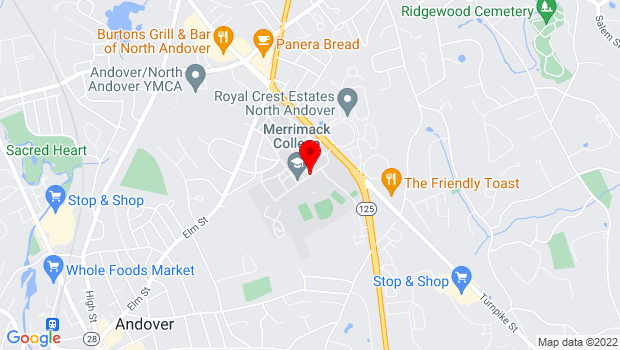 Google Map of Merrimack College, North Andover, MA 01845