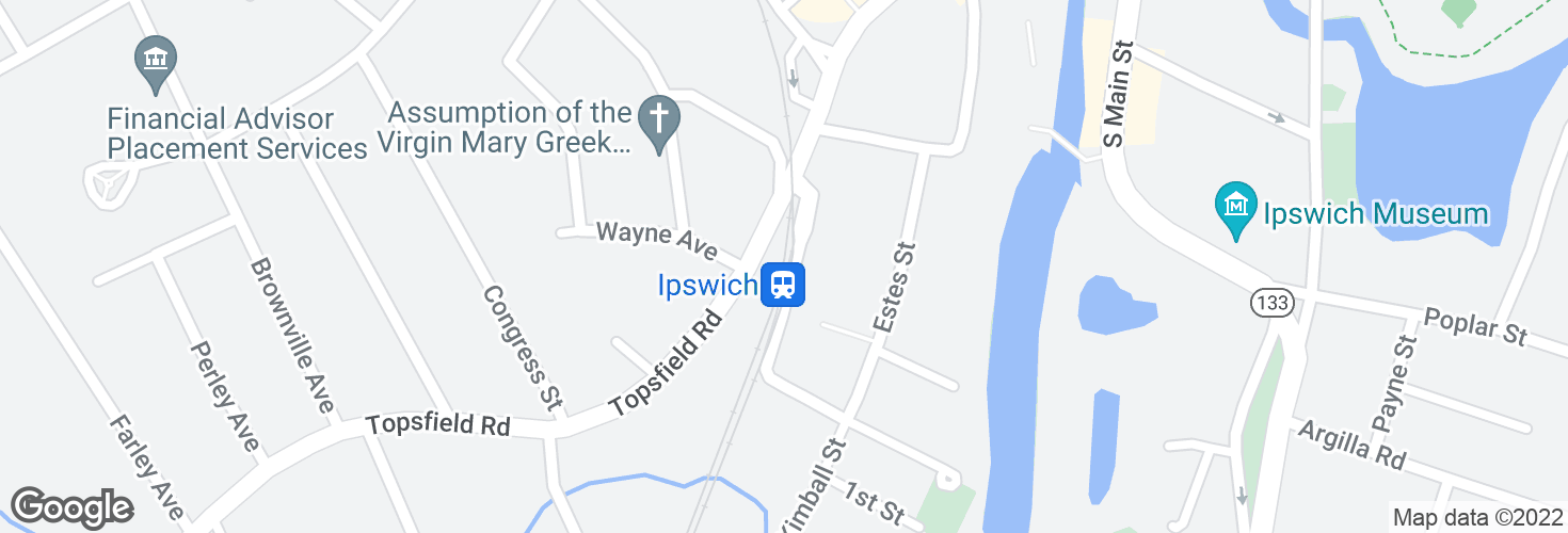 Map of Ipswich and surrounding area