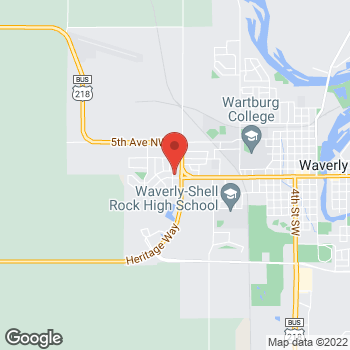 Map of Pizza Ranch at 2020 W Bremer Ave, Waverly, IA 50677