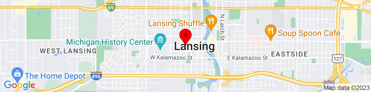 Google Map of 42.7325, -84.55555555555556