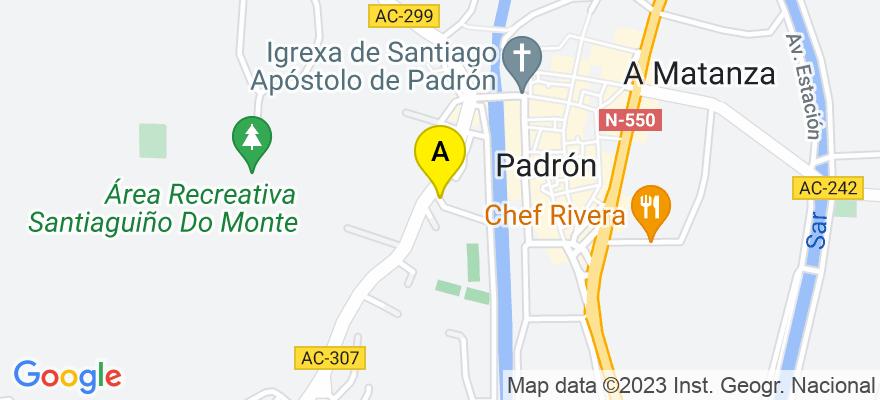 situacion en el mapa de . Direccion: C/ Sar nº 41, 1º D, 15900 Padrón. A Coruña
