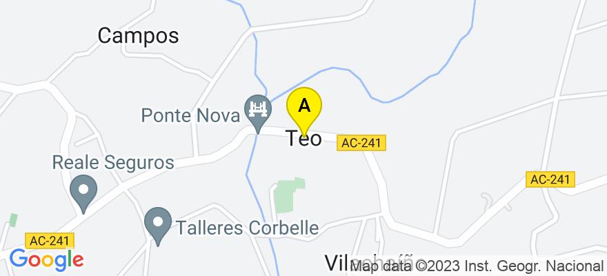 situacion en el mapa de . Direccion: TRAVESIA DE CACHEIRAS,Nº 39-BAJO, 15883 Teo. A Coruña