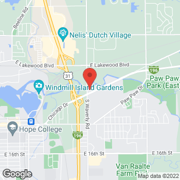 Map of Tim Hortons at 705 Chicago Dr, Holland, MI 49424