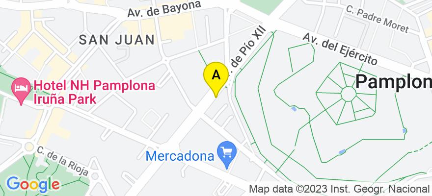 situacion en el mapa de . Direccion: Avda/Pío XII  nº 5  piso  1º oficina Nº 1, 31008 Pamplona/Iruña. Navarra