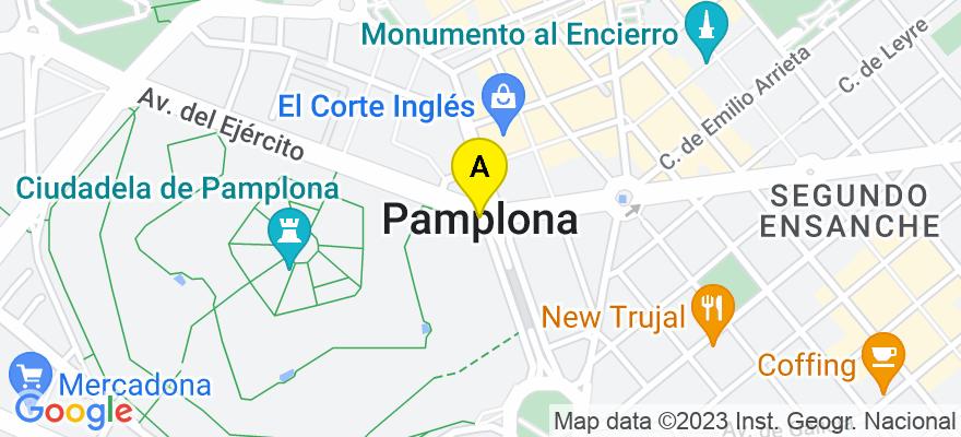 situacion en el mapa de . Direccion: c/ Hermanos Imaz nº1, 2º-A, 31002 Pamplona/Iruña. Navarra