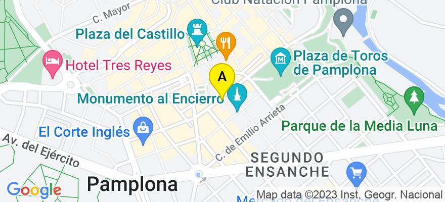 situacion en el mapa de . Direccion: C/ Cortes de Navarra, nº 3-1º C, 31002 Pamplona/Iruña. Navarra