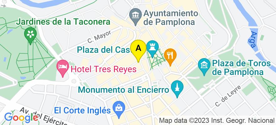 situacion en el mapa de . Direccion: San Nicolas, numero 3, 2º, 31010 Pamplona/Iruña. Navarra