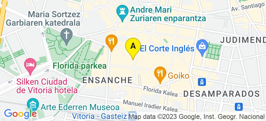 situacion en el mapa de . Direccion: C/ Eduardo Dato 18 1º, 01005 Vitoria-Gasteiz. Álava