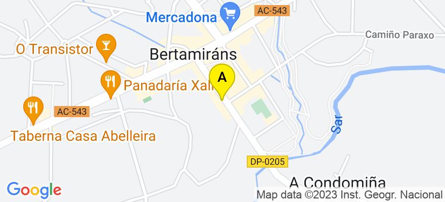 situacion en el mapa de . Direccion: Alcalde Lorenzo 16, 15220 Ames. A Coruña