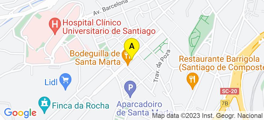 situacion en el mapa de . Direccion: Avenida da Liberdade nº 7 3º A, 15706 Santiago de Compostela. A Coruña