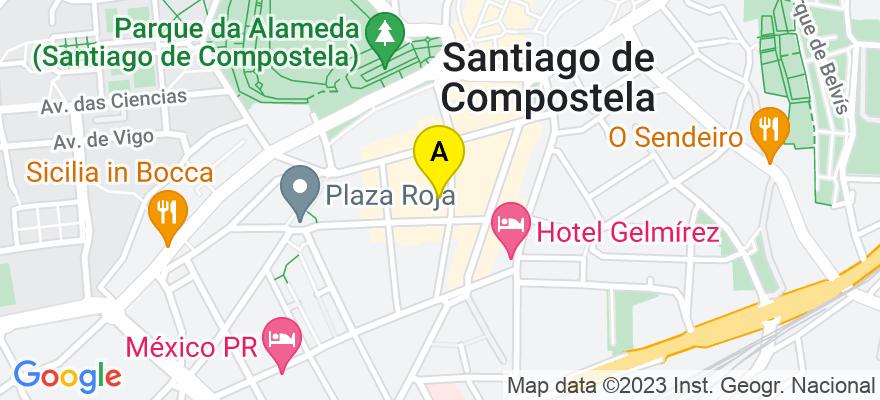 situacion en el mapa de . Direccion: General Pardiñas 22-24 2ºA, 15701 Santiago de Compostela. A Coruña