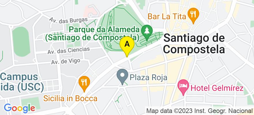 situacion en el mapa de . Direccion: Calle Tras do Pilar nº 6,1º, 15701 Santiago de Compostela. A Coruña