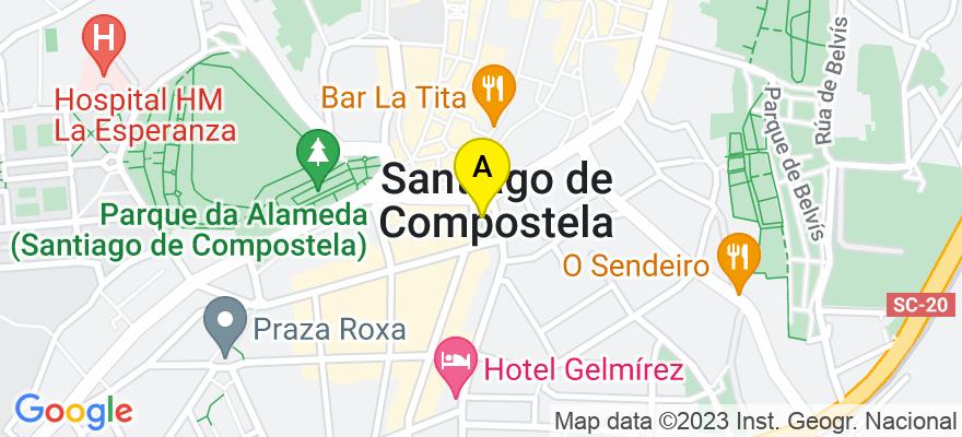 situacion en el mapa de . Direccion: Plaza de Galicia número 3, 2D, 15701 Santiago de Compostela. A Coruña