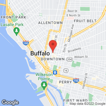 Map of Rite Aid at 452 Main Street, Buffalo, NY 14202