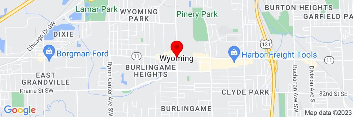 Google Map of 42.913360277778,-85.705308611111