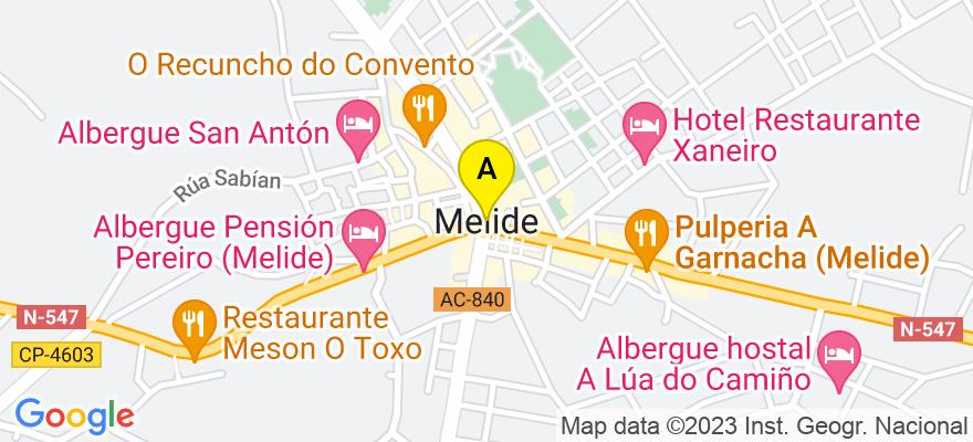 situacion en el mapa de . Direccion: C/ Cantón San Roque, nº 1, 3º izquierda, 15800 Melide. A Coruña