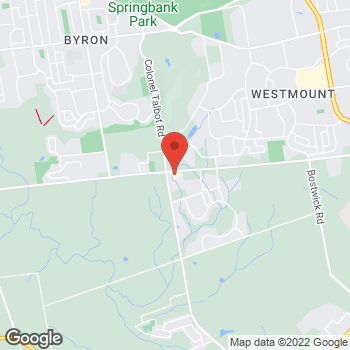Map of Tim Hortons at 925-975 Southdale Rd, London, ON N6P 0A9