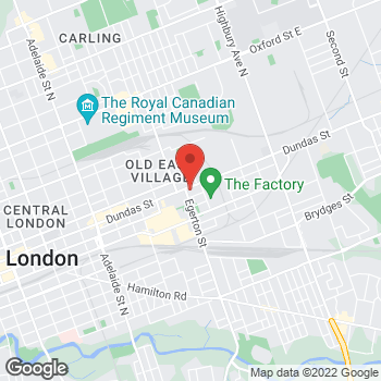 Map of Tim Hortons at 1019 Dundas St, London, ON N5W 3A4