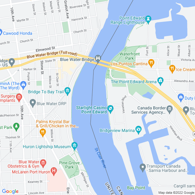Map of New Blue Water Bridge