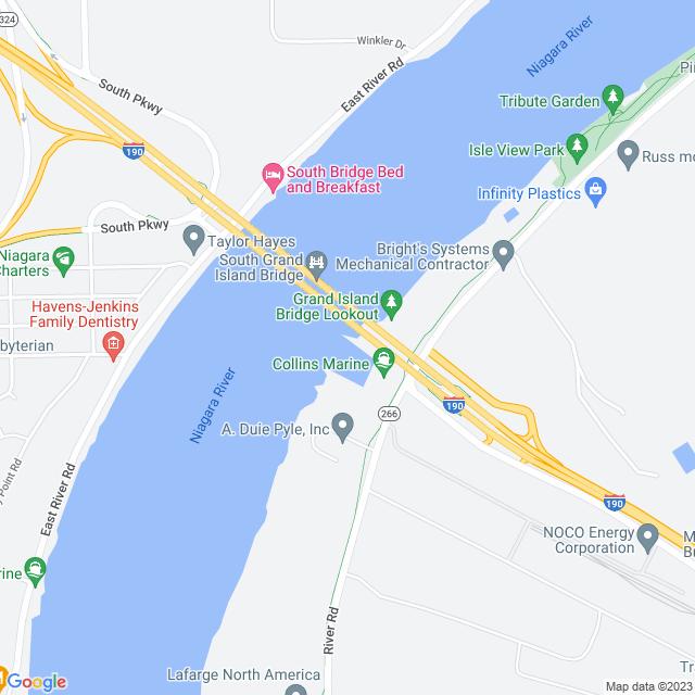Map of I-190 Niagra Thruway