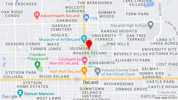Google Map of 421 North Woodland Blvd., Deland, FL 32724